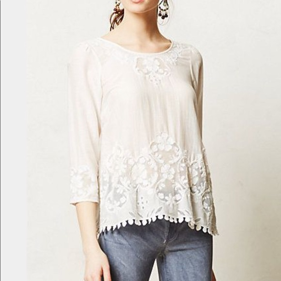 """Anthropologie Tops - Anthropologie """"Maeve"""" Beaded Lace Top"""